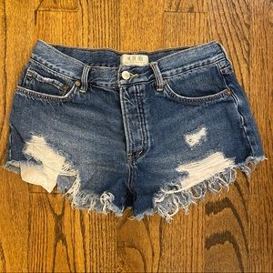 Free People Ripped Jean Shorts